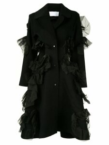 Roberts Wood cut-out ruffle coat - Black
