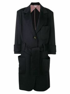 Thom Browne Navy Unilined Oversized Sack Trench - Blue