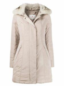 Peuterey zipped parka coat - NEUTRALS