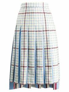 Thom Browne Gun Club Overcheck Combo Pleat Skirt - Blue