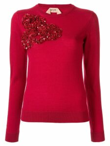 Nº21 sequinned ruffle sweater - Red