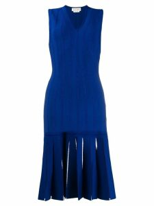Alexander McQueen embroidered knit midi dress - Blue