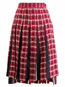 Thom Browne Gun Club Check Chiffon Skirt - Red