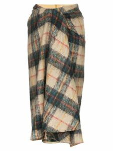 Samuel Gui Yang draped tartan midi skirt - Multicolour
