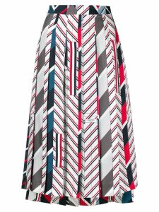 Thom Browne Repp Stripe Tie Collage Silk Skirt - Blue