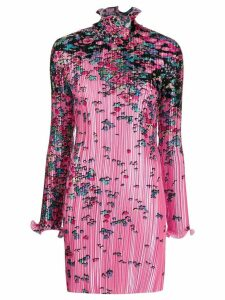 Givenchy floral-print pleated satin dress - Pink