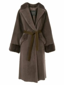 Blancha belted single-breasted coat - Brown