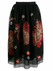 Biyan floral embroidered midi skirt - Black