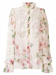 Dolce & Gabbana floral print and lace panel shirt - Pink