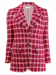 Thom Browne Gun Club Check Chiffon Sport Coat - Red