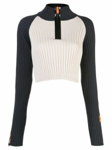 Heron Preston crop zip neck sweater - Neutrals