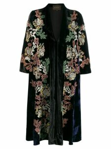 Biyan embroidered kimono coat - Black