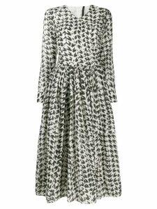 Sara Lanzi houndstooth print dress - White