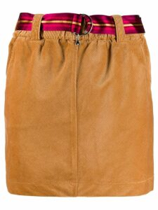 Patrizia Pepe corduroy belted skirt - Brown