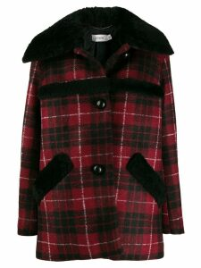 Coach checked shearling coat - Red