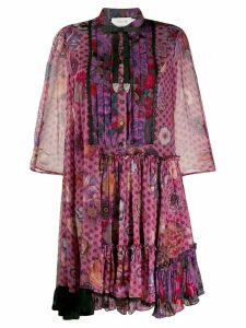 Coach printed ruffle dress - Purple