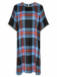 Charles Jeffrey Loverboy chain-trim tartan dress - Blue