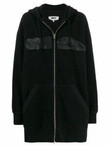 Mm6 Maison Margiela inside-out embroidered logo hooded jacket - Black