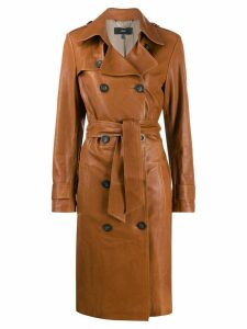Arma leather double breasted coat - Brown