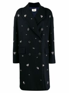 Semicouture embellished double-breasted coat - Blue