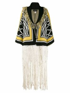 Alanui geometric fringed Revenstail coat - Black