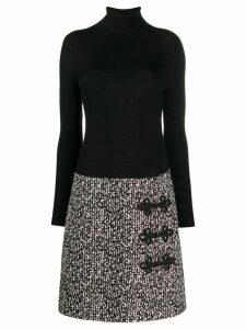 Paule Ka contrast roll neck dress - Black