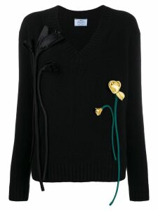Prada floral appliqués jumper - Black