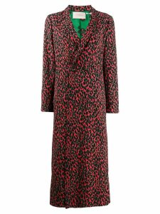 La Doublej leopard print duster coat - Red