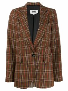 Mm6 Maison Margiela single breasted checked blazer - Brown