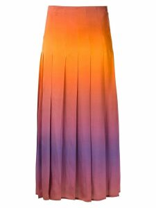 Reinaldo Lourenço pleated midi skirt - Orange
