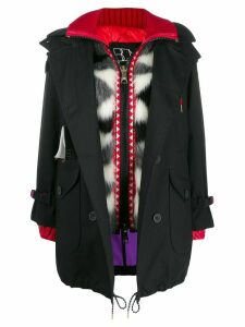 Bazar Deluxe contrast hooded coat - Black