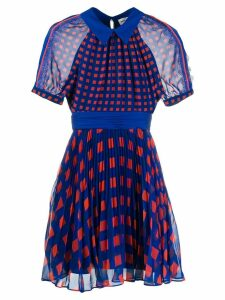 Self-Portrait printed pleated dress - Blue