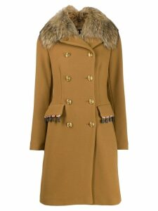 Bazar Deluxe faux fur collar coat - Brown