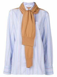 Derek Lam 10 Crosby knit panel striped shirt - Blue