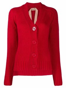 Nº21 ribbed V-neck cardigan - Red