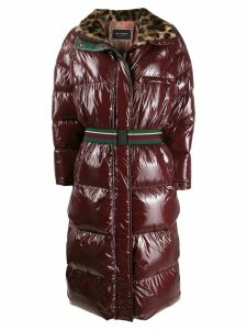 Etro leopard collar coat - Red