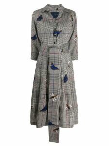 Samantha Sung Prince of Wales butterfly-print dress - Grey