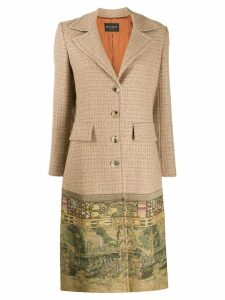 Etro contrasting hem coat - Brown