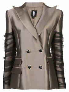Victoria Hayes tulle-embellished blazer - Gold