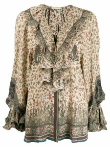 Etro ruffled neck blouse - Neutrals