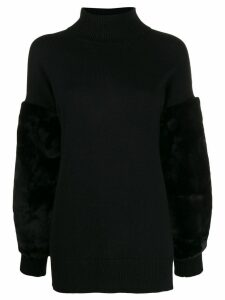 Michael Michael Kors faux fur trimmed jumper - Black
