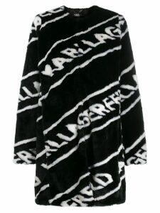 Karl Lagerfeld faux fur logo coat - Black