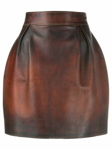 Versace distressed leather skirt - Brown
