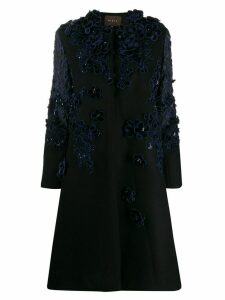 Biyan floral appliqué coat - Black