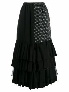 Junya Watanabe contrast panel ruffle skirt - Black