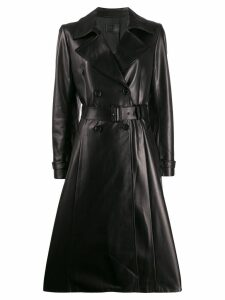 Prada belted leather trench coat - Black