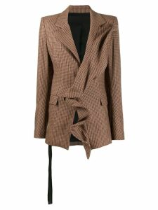 Unravel Project ruffle trim checked blazer - Neutrals