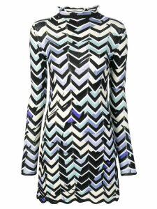 Emilio Pucci Alex Chevron-Knit Mini Dress - Black