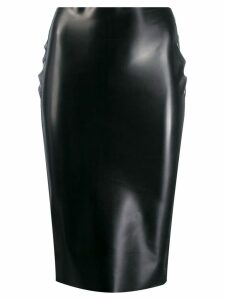 Nº21 rubberised high-waist skirt - Black