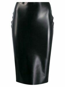 Nº21 rubberised high-waist skirt - Black